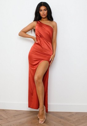 Missguided Rust Satin Knot Front One Shoulder Maxi Dress