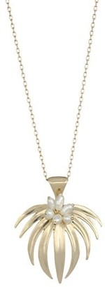 Annette Ferdinandsen Tropical Curled Palm Fan Pearl & 14K Yellow Gold Pendant Necklace