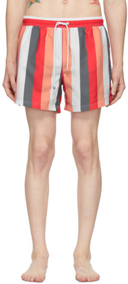 HUGO BOSS Red and White Striped Swim Shorts