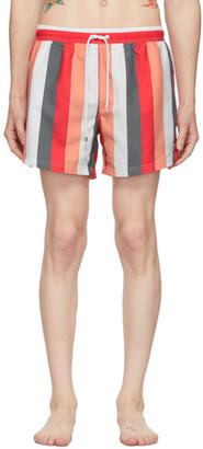 HUGO BOSS Red and White Striped Swim Shorts