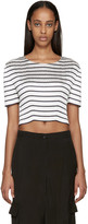 Alexander Wang White & Navy Pleated Blouse