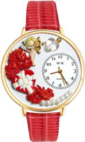 Whimsical Watches Personalized Valentines Day Womens Gold-Tone Bezel Red Leather Strap Watch
