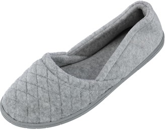 Dearfoams Indoor/Outdoor Women's Velour Slipper - Comfortable Machine Washable Cushioned Slippers with Quilted Design