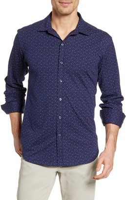 Bugatchi Floral Knit Button-Up Shirt