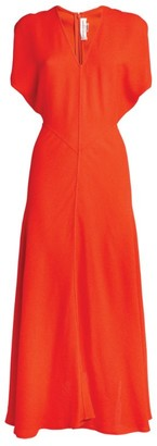 Victoria Beckham V-Neck Crepe Midi Dress