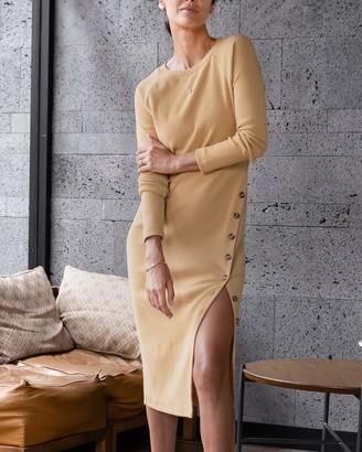 The Drop Women's Tan Raglan-Sleeve Midi Dress by @jonnycota S