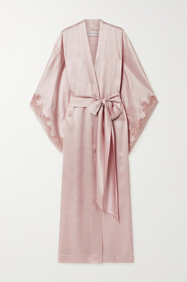 Carine Gilson Caudry Lace-trimmed Silk-satin Robe - Antique rose