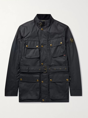 Belstaff Trialmaster Logo-Appliqued Belted Waxed-Cotton Jacket
