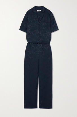 Cefinn Spencer Satin-jacquard Jumpsuit - Navy