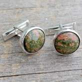 Men's Contemporary Sterling Silver Cufflinks with Unakite, 'Forest Muse'