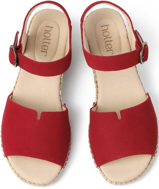 Hotter Fiji Wedge Ankle Strap Sandals - Red