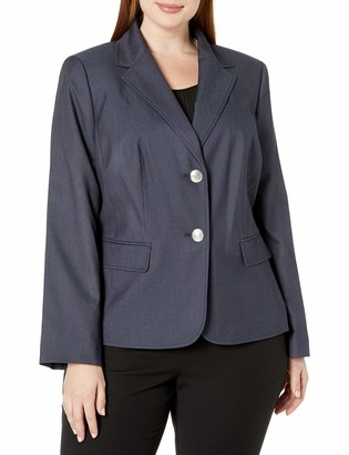 Nine West Women's Plus Size 2 Button Notch Collar Polished Denim Jacket