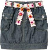 Gymboree Embroidered Flower Belt Chambray Skirt