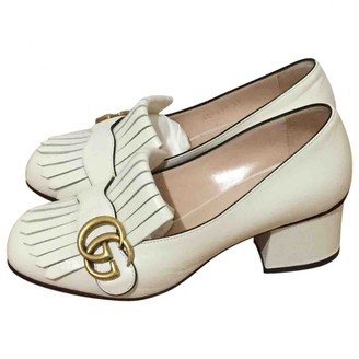 Gucci Marmont White Leather Heels