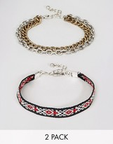 Asos Aztec And Chain Bracelet Pack