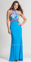 Dave and Johnny Beaded Tropical Print Prom Dress