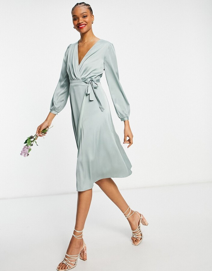 TFNC bridesmaid long sleeve wrap front sateen midi dress with belt in sage