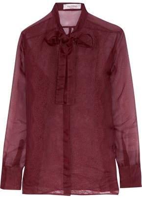 Valentino Pussy-Bow Lace-Paneled Silk Shirt