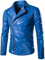 Partiss Men's Stand Collar PU Leather Motorcycle Jacket Chinese 4XL