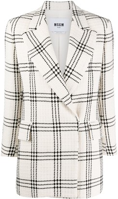 MSGM Checked-Pattern Cropped-Sleeve Blazer