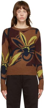 Dries Van Noten Brown Floral Oversized Sweater