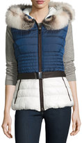 Gorski Colorblock Hooded Fur-Trim Puffer Vest, Blue