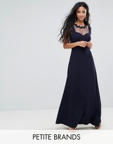 Little Mistress Petite Cold Shoulder Maxi Dress With Lace Applique Neck Detail