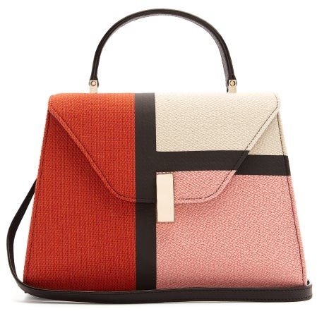 Valextra Iside Medium Colour Block Bag - Womens - Pink Multi