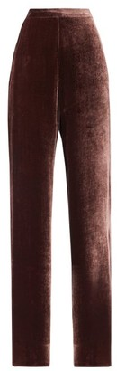 Etro High-rise Velvet Wide-leg Trousers - Pink