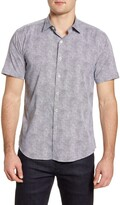 Bugatchi Shaped Fit Short Sleeve Button-Up Performance Shirt