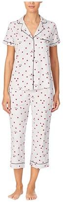 Kate Spade Brushed Jersey Notch Collar Cropped PJ Set (Ladybug) Women's Pajama Sets