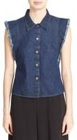 Rachel Comey Women's 'Laurel' Flutter Sleeve Button Front Cotton Blouse