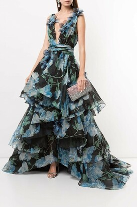 Marchesa Printed and Embroidered Silk Organza High Low Ball Gown
