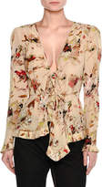 Tomas Maier Cosmic Floral Long-Sleeve Wrap Blouse, Ivory/Multicolor