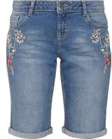Dorothy Perkins Womens Petite Mid Wash Knee Length Embroidered Shorts- Blue