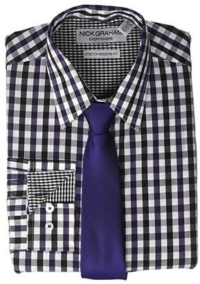 Nick Graham Gingham Contrast CVC Stretch Dress Shirt Tie Set (Purple) Men's Clothing