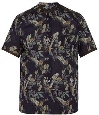 Etro Parrot Print Cotton Blend Shirt - Mens - Navy Multi