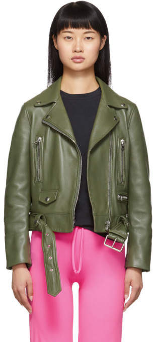 Acne Studios Green Leather Motorcycle Jacket