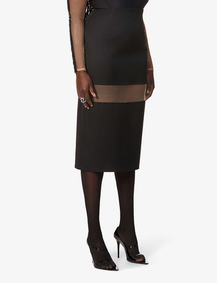 Thierry Mugler Segmented sheer-panel high-waist wool midi skirt