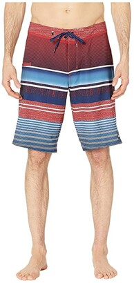 Quiksilver 21 Everyday Stripe Vee 2.0 Boardshorts Swim Trunks (Brick Red) Men's Swimwear