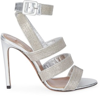 Alaia Ankle-Strap Metallic Leather Sandals