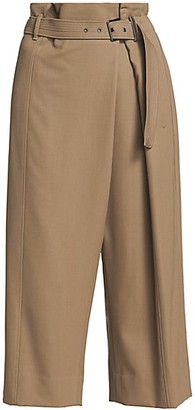 Brunello Cucinelli Asymmetrical Pleat Belted Wool Culottes