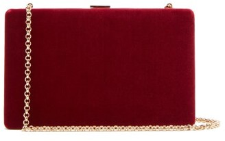 Anya Hindmarch Clutch-on-a-chain Velvet Clutch - Womens - Burgundy