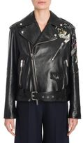 Valentino Tattoo Embroidered Leather Biker Jacket