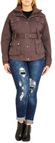 City Chic Plus Size Women's Rib Knit Trim Belted Utility Jacket