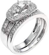 DazzlingRock Collection 0.75 Carat (ctw) 14k White Gold Round Diamond Ladies Bridal Ring Engagement Set 3/4 CT (Size 7.5)