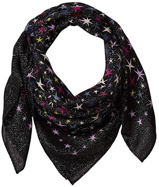 Kate Spade Stars Sparkle Wool Square Scarf (Black) Scarves