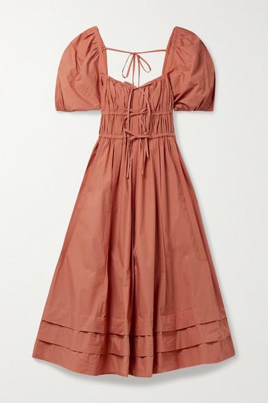 Ulla Johnson Palma Tie-detailed Gathered Cotton-poplin Midi Dress - Brick