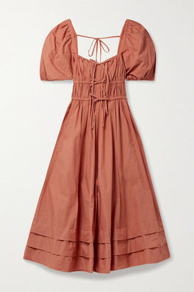 Ulla Johnson Palma Tie-detailed Gathered Cotton-poplin Midi Dress - Brick