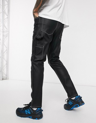 ASOS DESIGN slim jeans in black leather look with carpenter details and contrast stitch